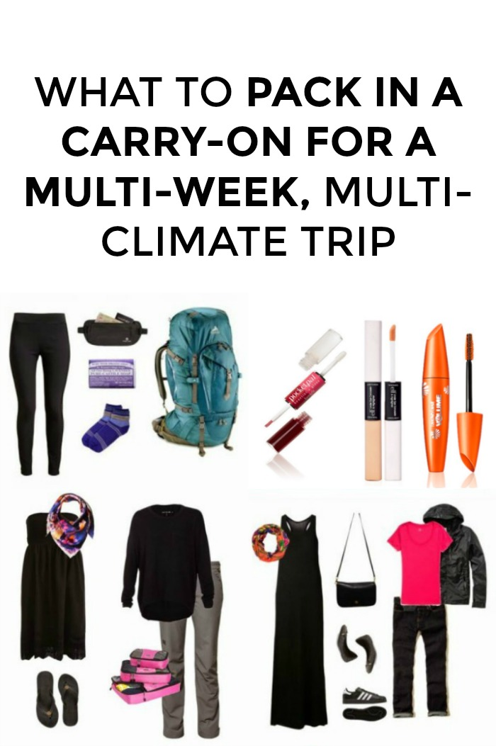 Trying to pack in a carry-on for a multi-week trip? Looking for packing tips for a long trip? You're in the right place! I've packed in a carry-on for five-country, six-week trips, click through for my packing list!