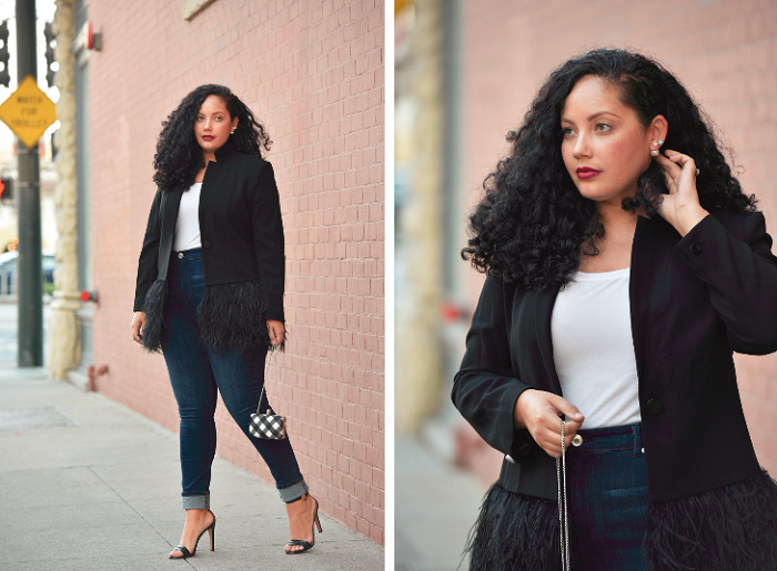 A black feather blazer + an interview filled with curvy style tips!