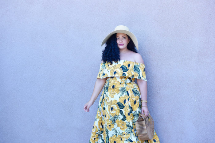 A pretty yellow off the should dress + an interview filled with curvy style tips!
