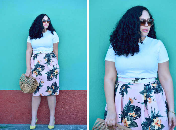 A tropical print skirt + an interview filled with curvy style tips!