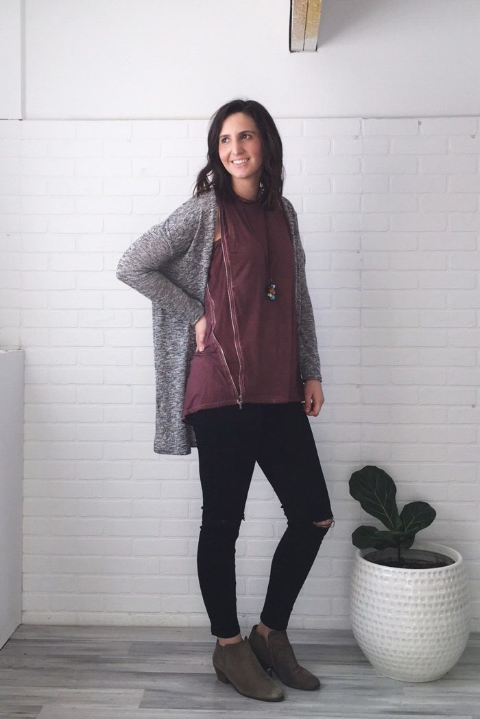 A grey sweater and ripped black jeans + style tips from your favorite Iowa fashion blogger!