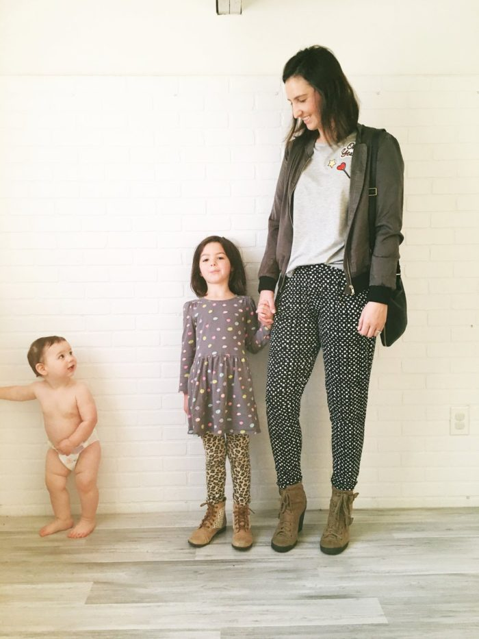 Black print pants and brown booties + style tips from your favorite Iowa fashion blogger!