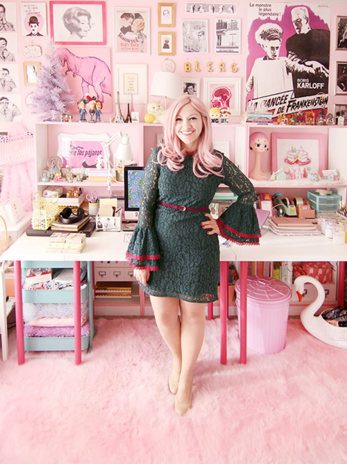 a green lace dress + budget style tips from a pink-haired style blogger!