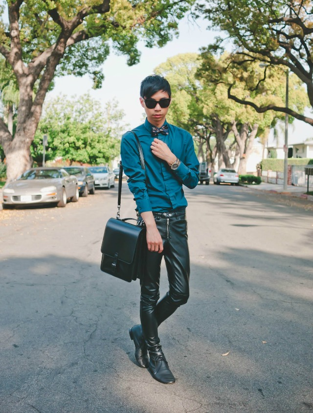 A bow tie, teal shirt, and black leather pants + style tips from your favorite male fashion blogger!