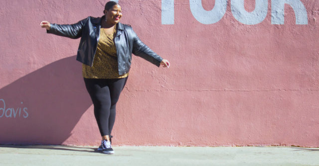 A moto jacket and leggings + style tips from your favorite plus size black fashion blogger!