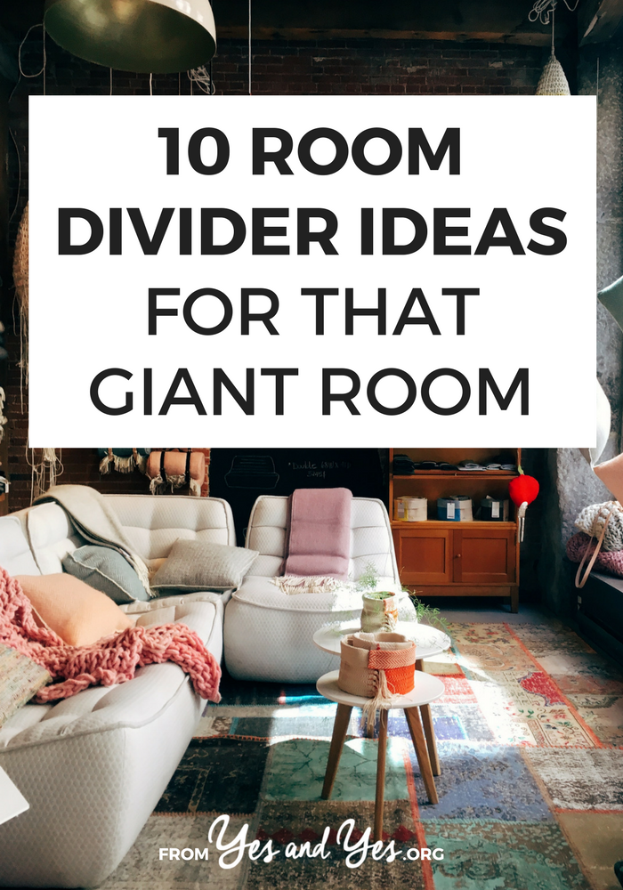 Looking for room divider ideas to create a dining space where you don't have one? Or turn the master bedroom into two sleeping spaces for kids? Click through for 10 cheap, easy, innovative ways to separate giant spaces! >> yesandyes.org