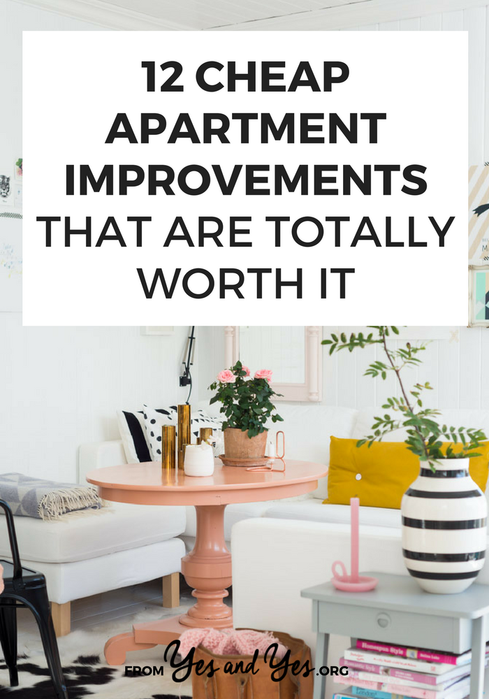 Looking for cheap apartment improvement ideas? Read on for 12 rental DIYs that will make any space more inviting and homey! #cheapdecor #budgetdecorating #savemoney #budgettips