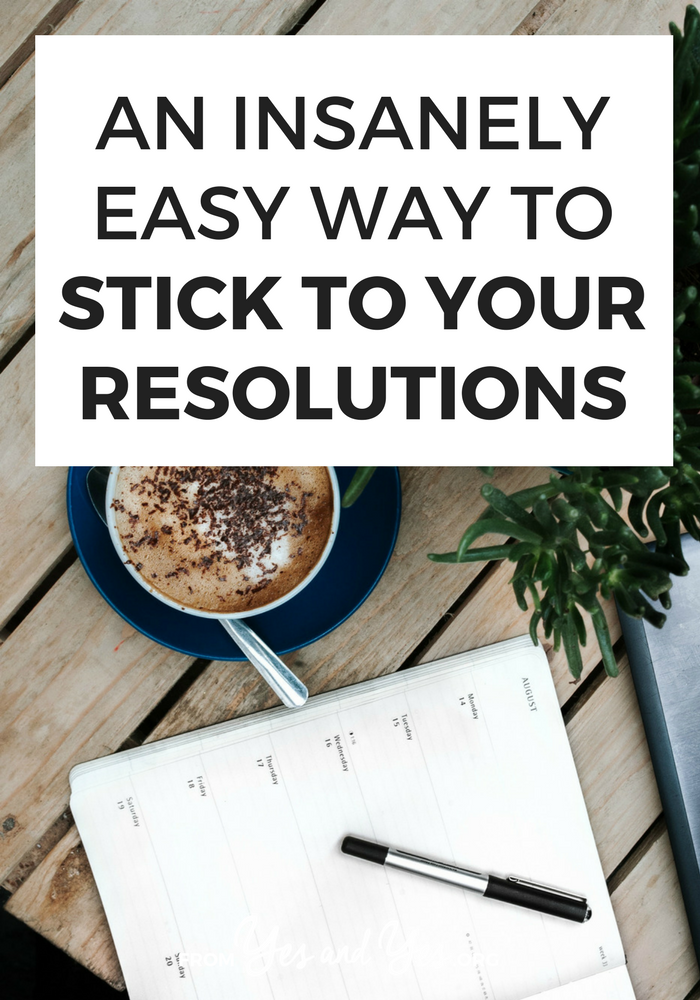 Want to keep your resolutions and reach your goals this year? This unusual method is head-slappingly easy but really effective. Even better, it's most likely to help you in those moments of low energy and temptation! Tap through to find out what it is and how I've used it. #resolutions #goalsetting #habits #motivation #productivity
