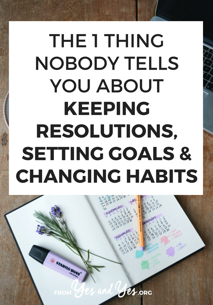 Want to change habits, keep your resolutions, or achieve your goals? It'll be A LOT easier if you know this ONE thing (and I'm probably the only person who's going to tell you). Tap through and find out how to make habit change stick! #habits #goals #resolutions