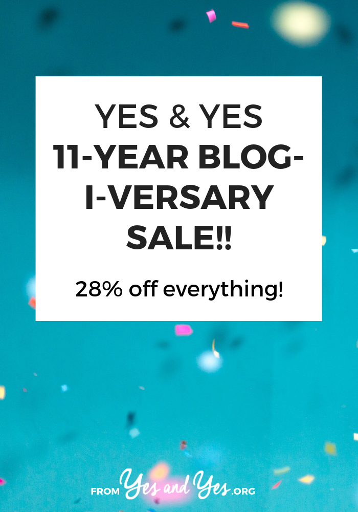 Use the discount code BLOGIVERSARY28 to get 28% off all Yes & Yes's ebooks, workbooks, and online courses!